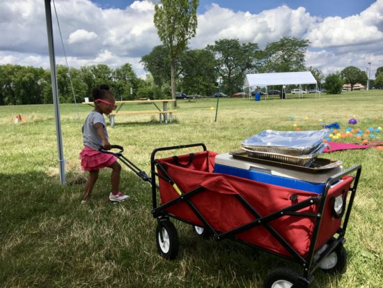 My daughter (a.k.a. Sugar Smacks) was obsessed with pulling a fold-up utility cart that resembled a Radio Flyer wagon.